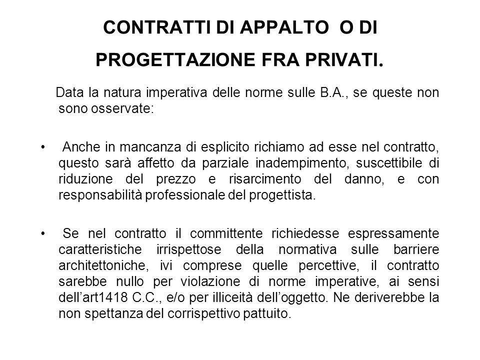 CONTRATTI DI APPALTO O DI PROGETTAZIONE FRA PRIVATI.