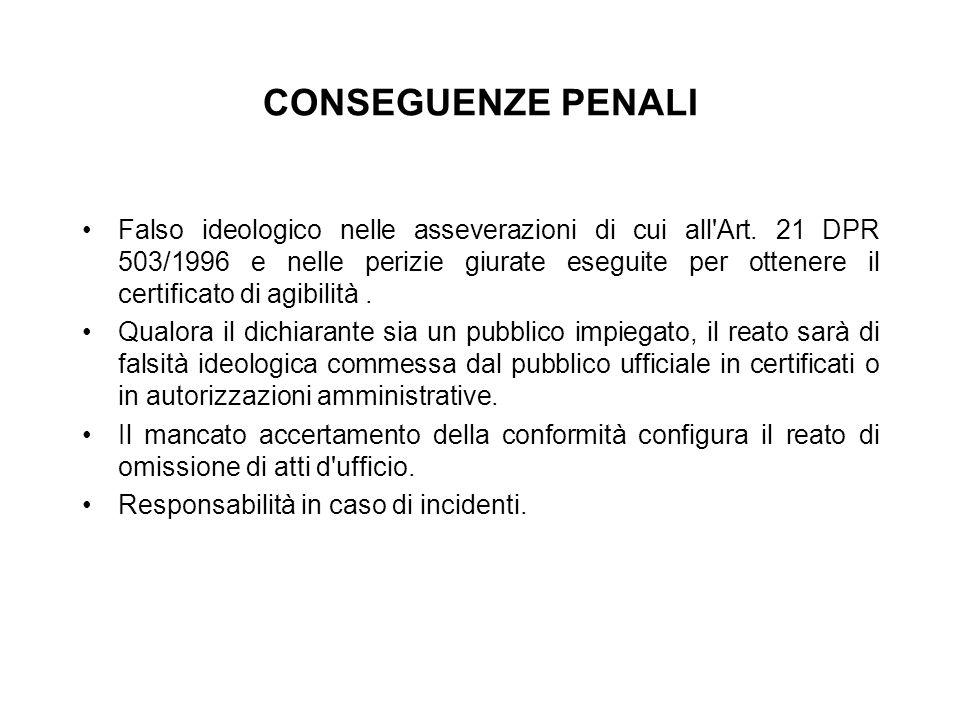 CONSEGUENZE PENALI Falso ideologico nelle asseverazioni di cui all'Art. 21 DPR 503/1996 e nelle perizie giurate eseguite per ottenere il certificato d