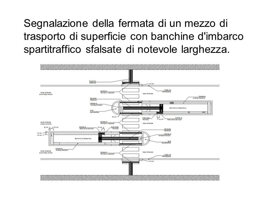 Segnalazione della fermata di un mezzo di trasporto di superficie con banchine d imbarco spartitraffico sfalsate di notevole larghezza.