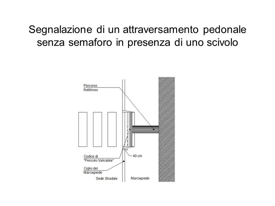 Segnalazione di un attraversamento pedonale senza semaforo in presenza di uno scivolo