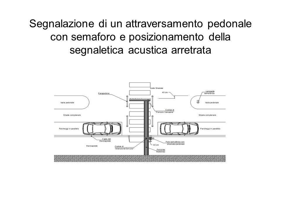 Segnalazione di un attraversamento pedonale con semaforo e posizionamento della segnaletica acustica arretrata