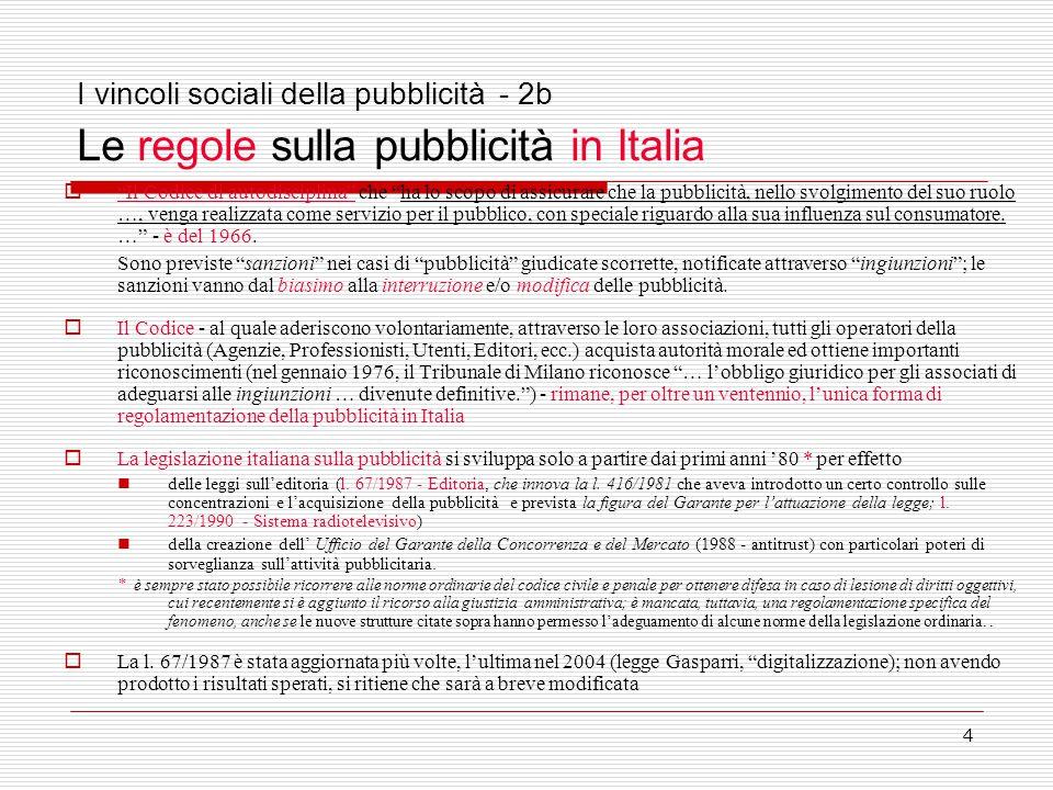4 I vincoli sociali della pubblicità - 2b Le regole sulla pubblicità in Italia  Il Codice di autodisciplina che ha lo scopo di assicurare che la pubblicità, nello svolgimento del suo ruolo …, venga realizzata come servizio per il pubblico, con speciale riguardo alla sua influenza sul consumatore.