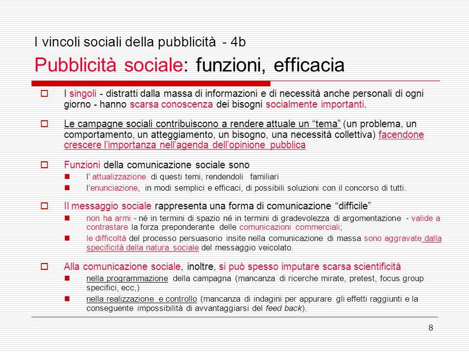 8 I vincoli sociali della pubblicità - 4b Pubblicità sociale: funzioni, efficacia  I singoli - distratti dalla massa di informazioni e di necessità anche personali di ogni giorno - hanno scarsa conoscenza dei bisogni socialmente importanti.