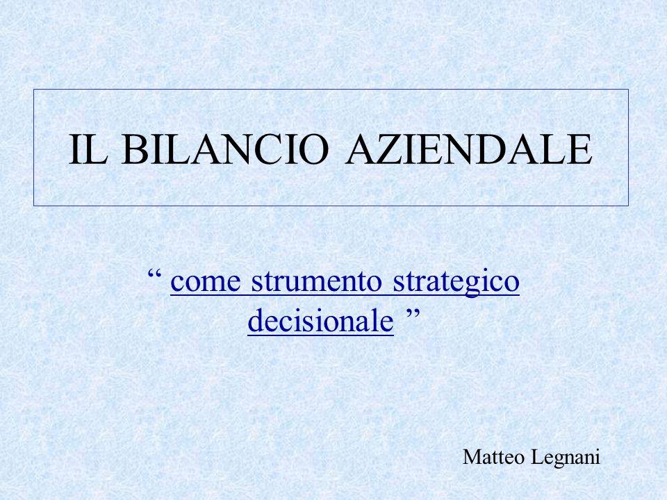IL BILANCIO AZIENDALE come strumento strategico decisionale Matteo Legnani
