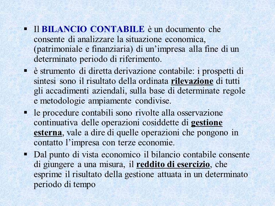  Il BILANCIO CONTABILE è un documento che consente di analizzare la situazione economica, (patrimoniale e finanziaria) di un'impresa alla fine di un