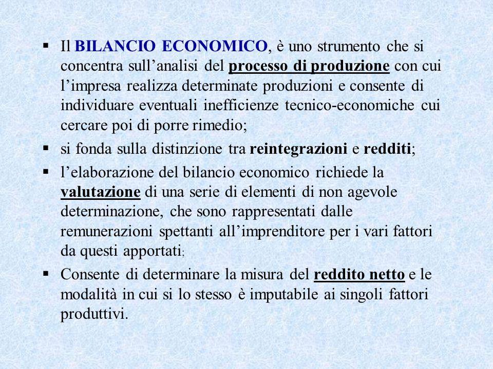  Il BILANCIO ECONOMICO, è uno strumento che si concentra sull'analisi del processo di produzione con cui l'impresa realizza determinate produzioni e