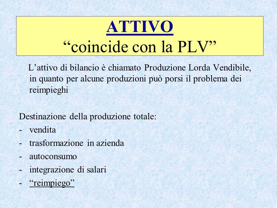 ATTIVO coincide con la PLV L'attivo di bilancio è chiamato Produzione Lorda Vendibile, in quanto per alcune produzioni può porsi il problema dei reimpieghi Destinazione della produzione totale: -vendita -trasformazione in azienda -autoconsumo -integrazione di salari - reimpiego