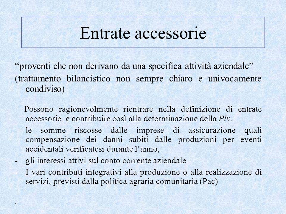 """Entrate accessorie """"proventi che non derivano da una specifica attività aziendale"""" (trattamento bilancistico non sempre chiaro e univocamente condivis"""