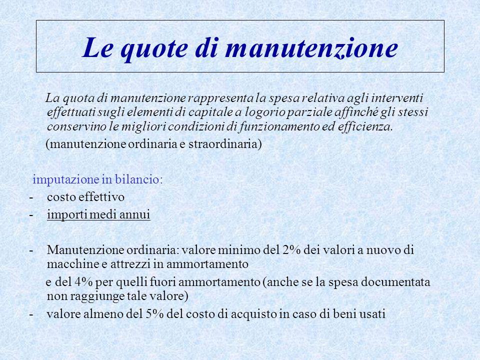 Le quote di manutenzione La quota di manutenzione rappresenta la spesa relativa agli interventi effettuati sugli elementi di capitale a logorio parzia