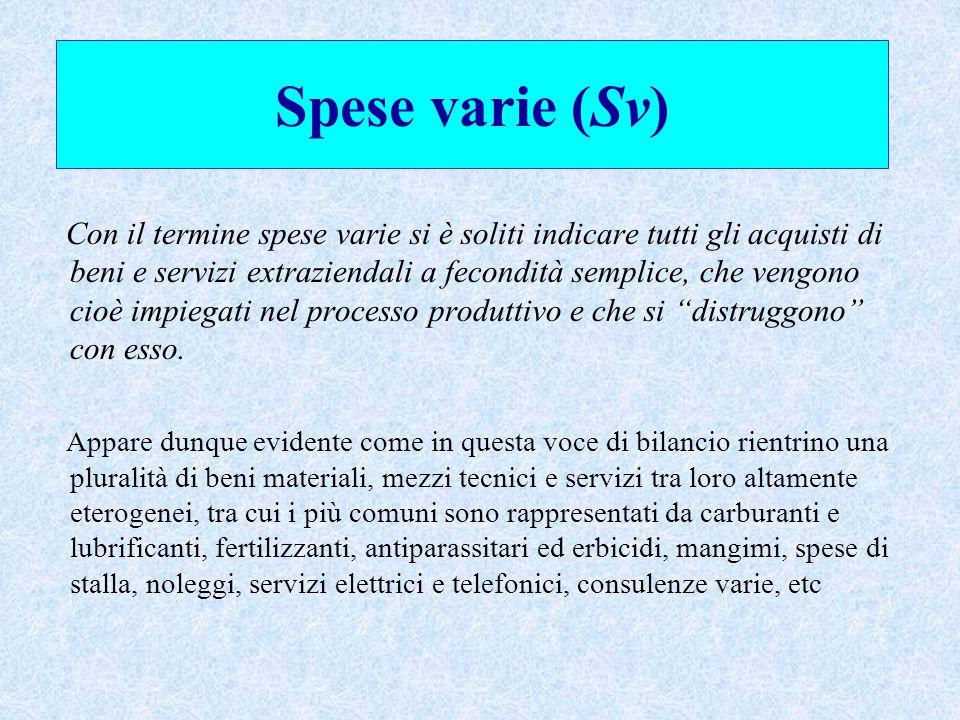 Spese varie (Sv) Con il termine spese varie si è soliti indicare tutti gli acquisti di beni e servizi extraziendali a fecondità semplice, che vengono