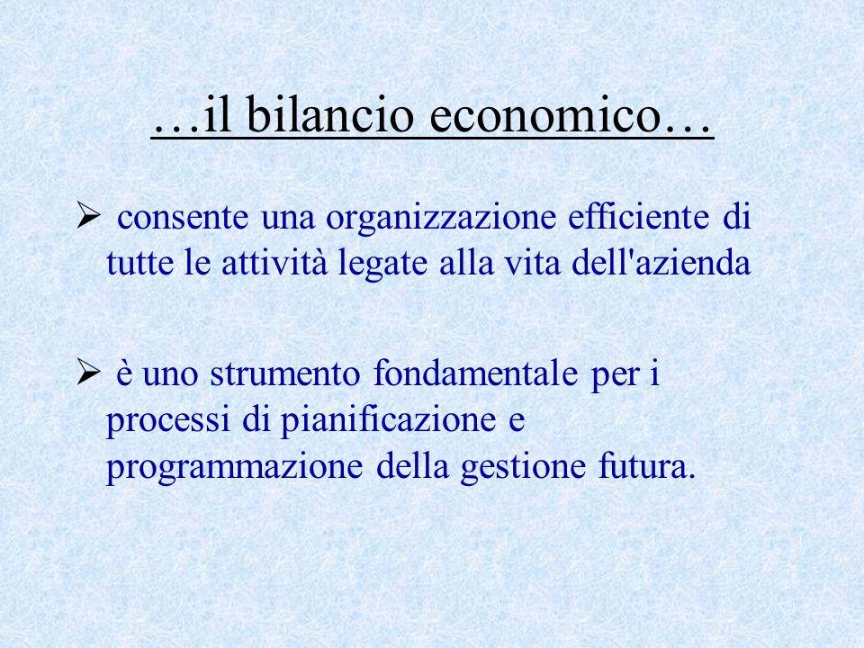 …il bilancio economico…  consente una organizzazione efficiente di tutte le attività legate alla vita dell azienda  è uno strumento fondamentale per i processi di pianificazione e programmazione della gestione futura.
