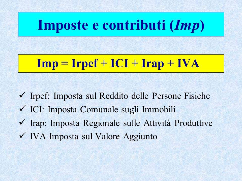 Imposte e contributi (Imp) Imp = Irpef + ICI + Irap + IVA Irpef: Imposta sul Reddito delle Persone Fisiche ICI: Imposta Comunale sugli Immobili Irap: