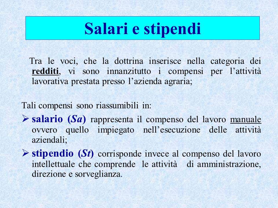 Tra le voci, che la dottrina inserisce nella categoria dei redditi, vi sono innanzitutto i compensi per l'attività lavorativa prestata presso l'aziend