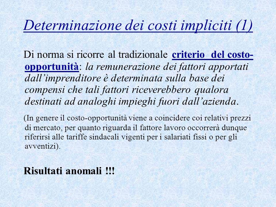 Determinazione dei costi impliciti (1) Di norma si ricorre al tradizionale criterio del costo- opportunità: la remunerazione dei fattori apportati dal