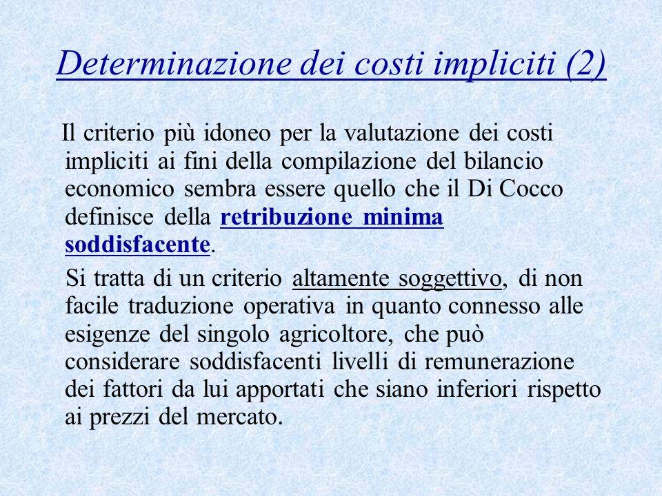 Determinazione dei costi impliciti (2) Il criterio più idoneo per la valutazione dei costi impliciti ai fini della compilazione del bilancio economico