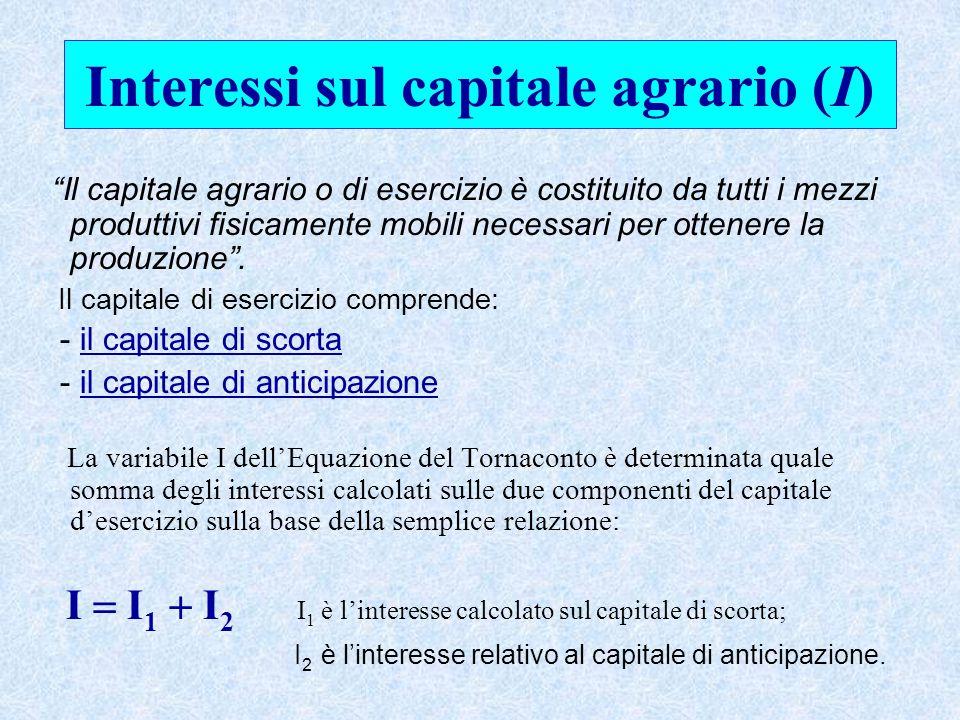 Interessi sul capitale agrario (I) Il capitale agrario o di esercizio è costituito da tutti i mezzi produttivi fisicamente mobili necessari per ottenere la produzione .