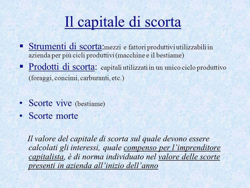Il capitale di scorta  Strumenti di scorta: mezzi e fattori produttivi utilizzabili in azienda per più cicli produttivi (macchine e il bestiame)  Pr