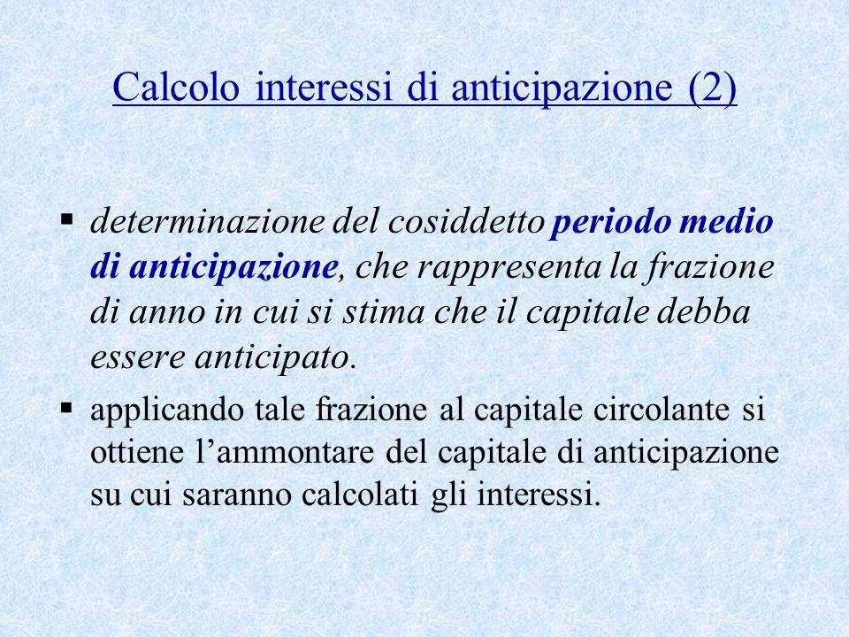 Calcolo interessi di anticipazione (2)  determinazione del cosiddetto periodo medio di anticipazione, che rappresenta la frazione di anno in cui si stima che il capitale debba essere anticipato.