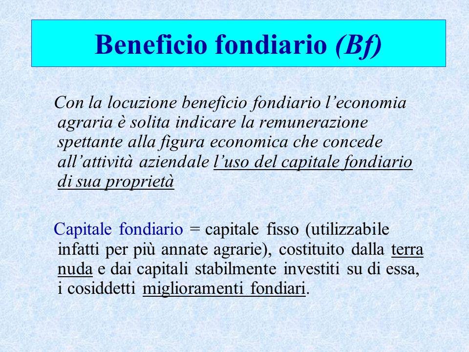 Beneficio fondiario (Bf) Con la locuzione beneficio fondiario l'economia agraria è solita indicare la remunerazione spettante alla figura economica ch