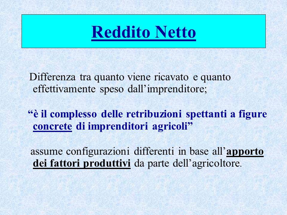 Reddito Netto Differenza tra quanto viene ricavato e quanto effettivamente speso dall'imprenditore; è il complesso delle retribuzioni spettanti a figure concrete di imprenditori agricoli assume configurazioni differenti in base all'apporto dei fattori produttivi da parte dell'agricoltore.