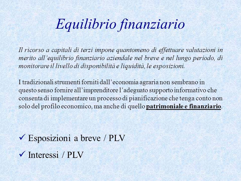 Equilibrio finanziario Il ricorso a capitali di terzi impone quantomeno di effettuare valutazioni in merito all'equilibrio finanziario aziendale nel breve e nel lungo periodo, di monitorare il livello di disponibilità e liquidità, le esposizioni.
