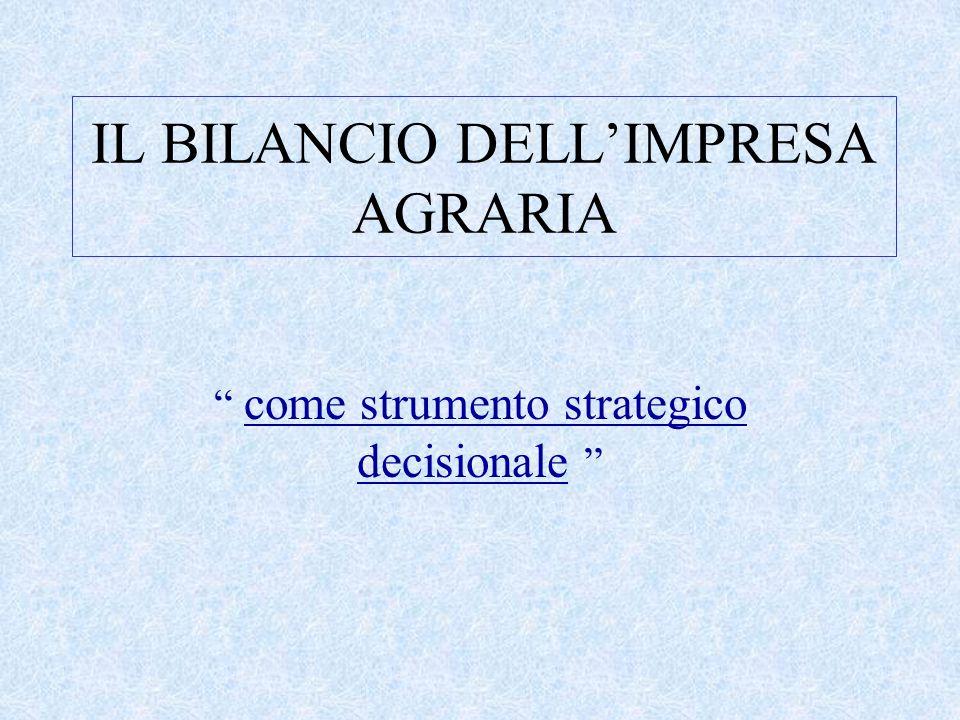 """IL BILANCIO DELL'IMPRESA AGRARIA """" come strumento strategico decisionale """""""