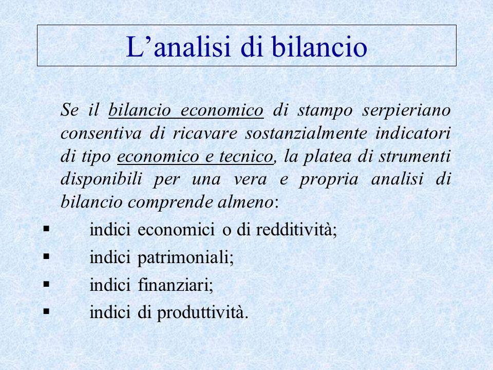 L'analisi di bilancio Se il bilancio economico di stampo serpieriano consentiva di ricavare sostanzialmente indicatori di tipo economico e tecnico, la