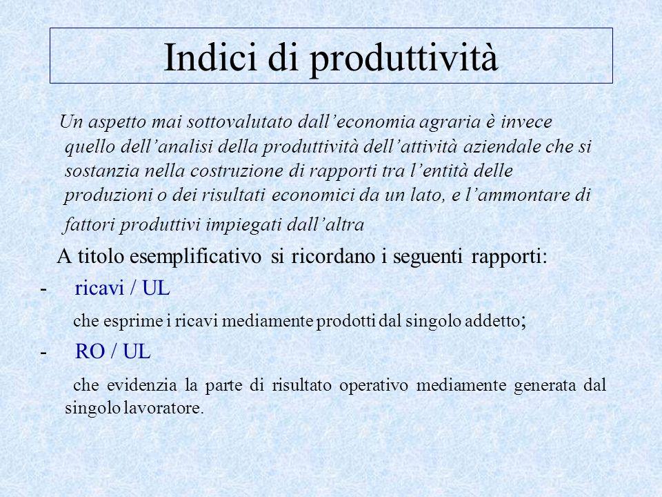Indici di produttività Un aspetto mai sottovalutato dall'economia agraria è invece quello dell'analisi della produttività dell'attività aziendale che si sostanzia nella costruzione di rapporti tra l'entità delle produzioni o dei risultati economici da un lato, e l'ammontare di fattori produttivi impiegati dall'altra A titolo esemplificativo si ricordano i seguenti rapporti: - ricavi / UL che esprime i ricavi mediamente prodotti dal singolo addetto ; - RO / UL che evidenzia la parte di risultato operativo mediamente generata dal singolo lavoratore.