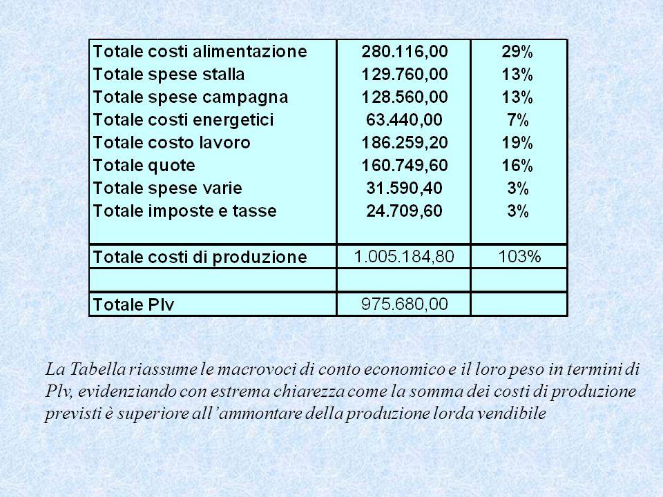 La Tabella riassume le macrovoci di conto economico e il loro peso in termini di Plv, evidenziando con estrema chiarezza come la somma dei costi di pr