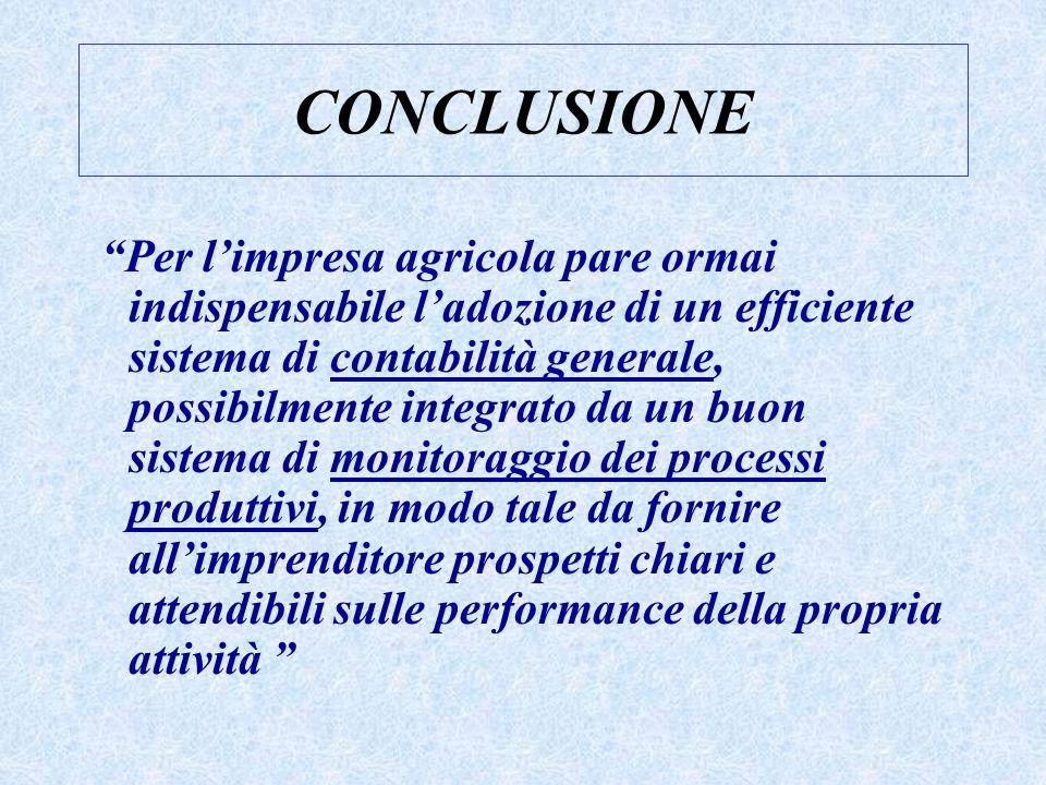 """CONCLUSIONE """"Per l'impresa agricola pare ormai indispensabile l'adozione di un efficiente sistema di contabilità generale, possibilmente integrato da"""