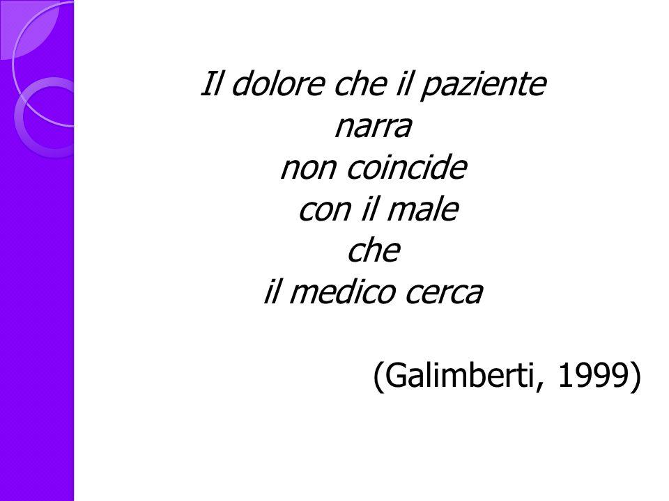 Il dolore che il paziente narra non coincide con il male che il medico cerca (Galimberti, 1999)