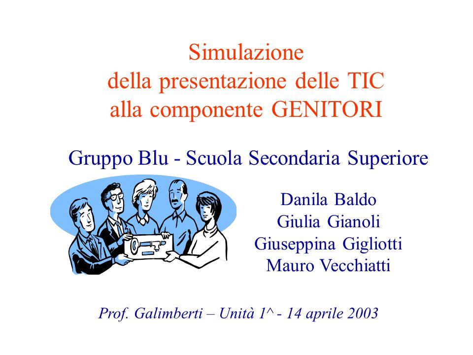Simulazione della presentazione delle TIC alla componente GENITORI Gruppo Blu - Scuola Secondaria Superiore Prof.
