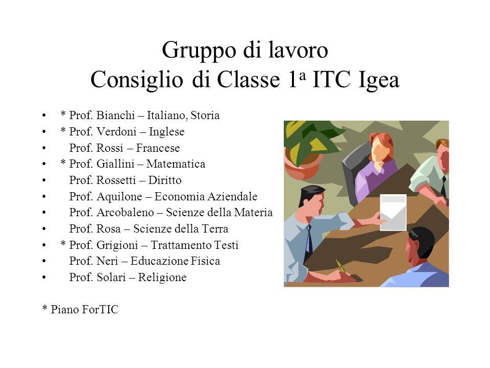 Gruppo di lavoro Consiglio di Classe 1 a ITC Igea * Prof.