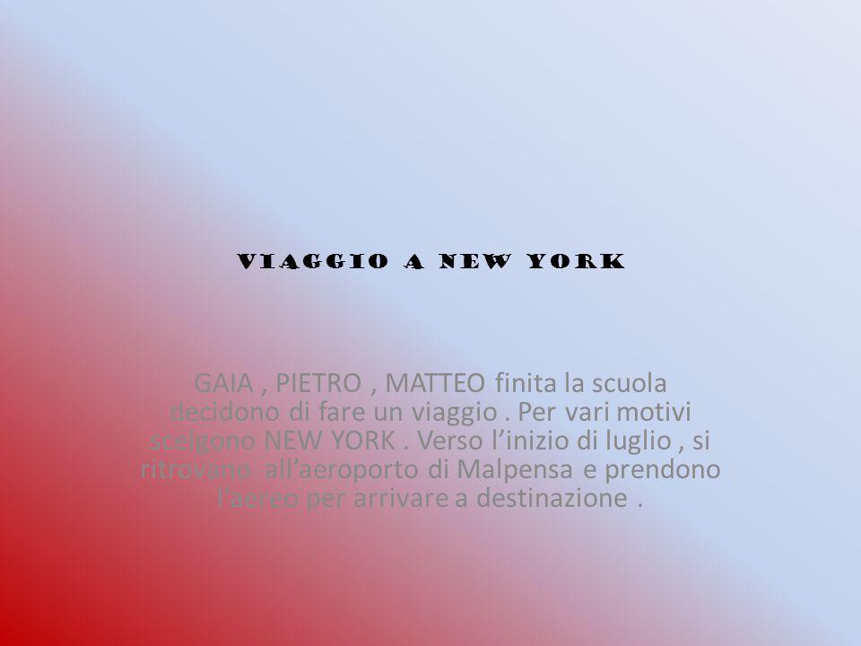 VIAGGIO A NEW YORK GAIA, PIETRO, MATTEO finita la scuola decidono di fare un viaggio.
