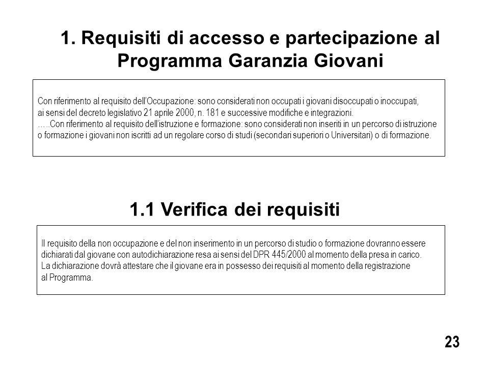 1. Requisiti di accesso e partecipazione al Programma Garanzia Giovani Con riferimento al requisito dell'Occupazione: sono considerati non occupati i