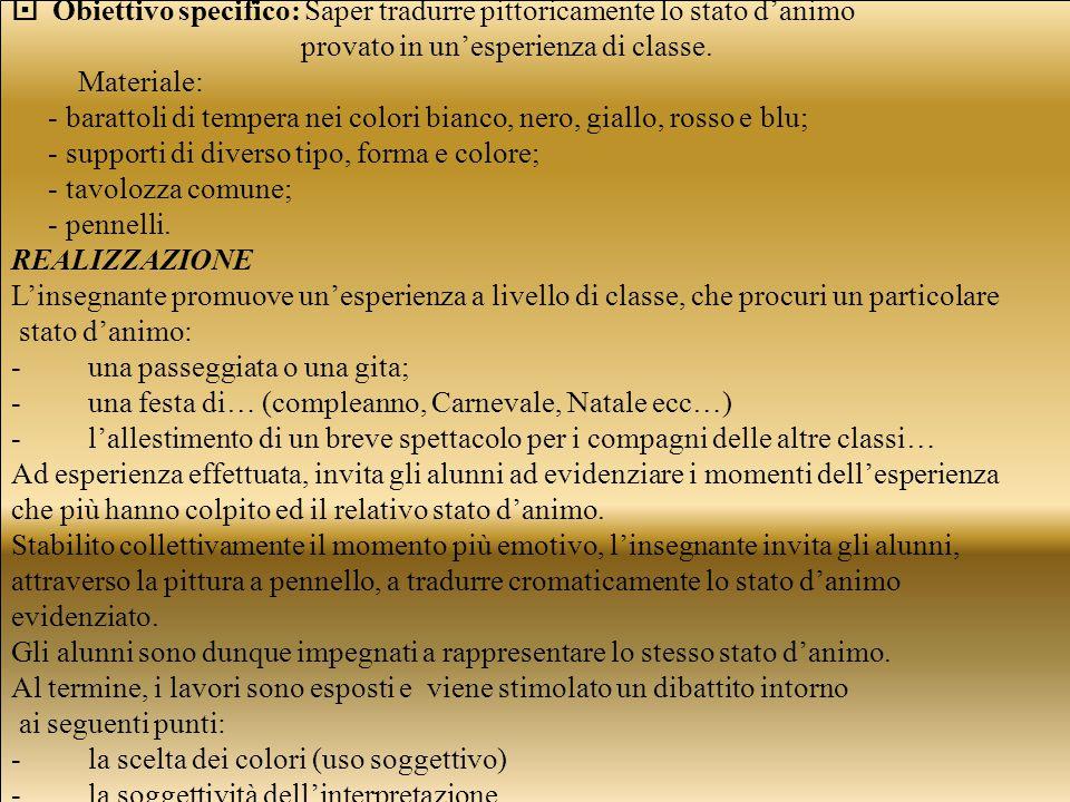  Obiettivo specifico: Saper tradurre pittoricamente lo stato d'animo provato in un'esperienza di classe.