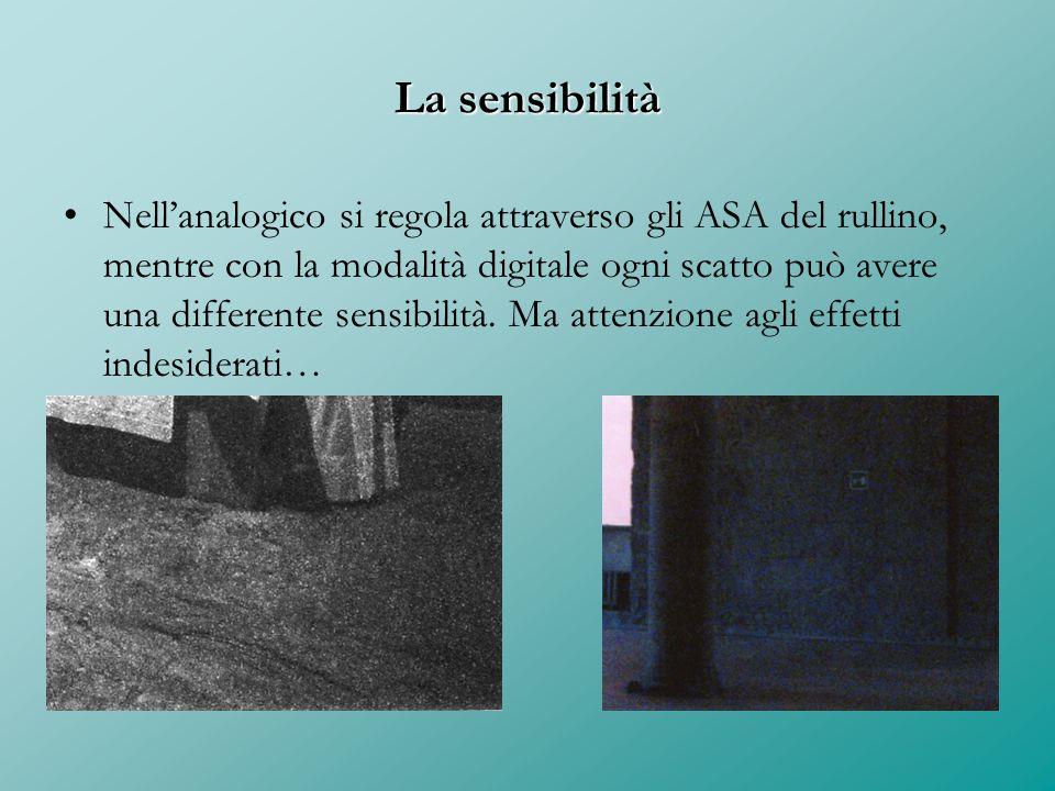 La sensibilità Nell'analogico si regola attraverso gli ASA del rullino, mentre con la modalità digitale ogni scatto può avere una differente sensibili