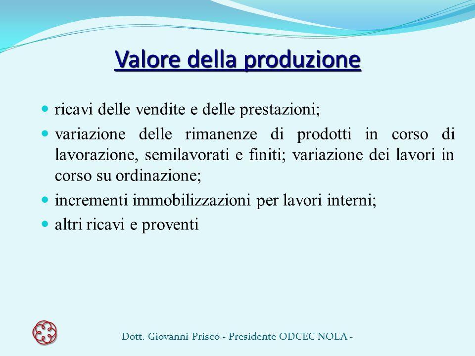 Valore della produzione ricavi delle vendite e delle prestazioni; variazione delle rimanenze di prodotti in corso di lavorazione, semilavorati e finit