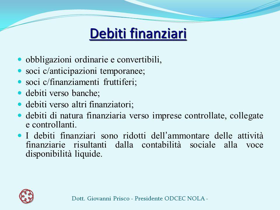 Debiti finanziari obbligazioni ordinarie e convertibili, soci c/anticipazioni temporanee; soci c/finanziamenti fruttiferi; debiti verso banche; debiti