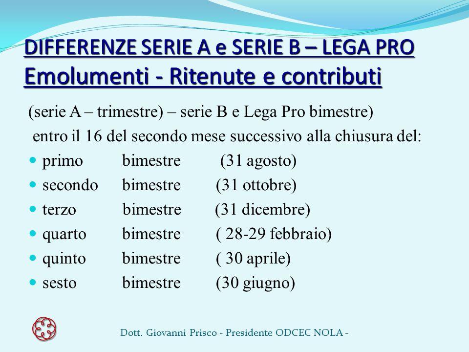 DIFFERENZE SERIE A e SERIE B – LEGA PRO Emolumenti - Ritenute e contributi (serie A – trimestre) – serie B e Lega Pro bimestre) entro il 16 del second