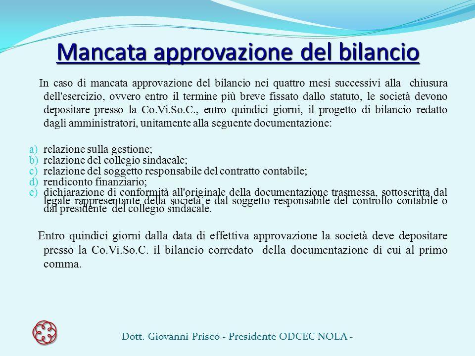 Mancata approvazione del bilancio In caso di mancata approvazione del bilancio nei quattro mesi successivi alla chiusura dell'esercizio, ovvero entro