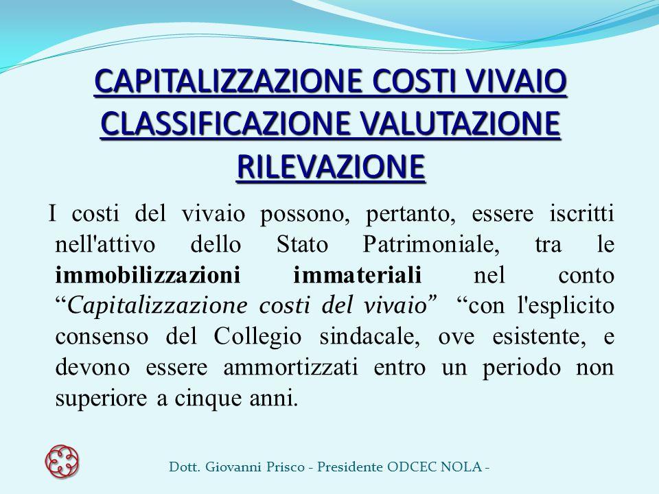 CAPITALIZZAZIONE COSTI VIVAIO CLASSIFICAZIONE VALUTAZIONE RILEVAZIONE I costi del vivaio possono, pertanto, essere iscritti nell'attivo dello Stato Pa