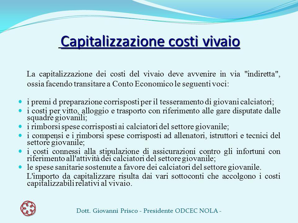 Capitalizzazione costi vivaio La capitalizzazione dei costi del vivaio deve avvenire in via