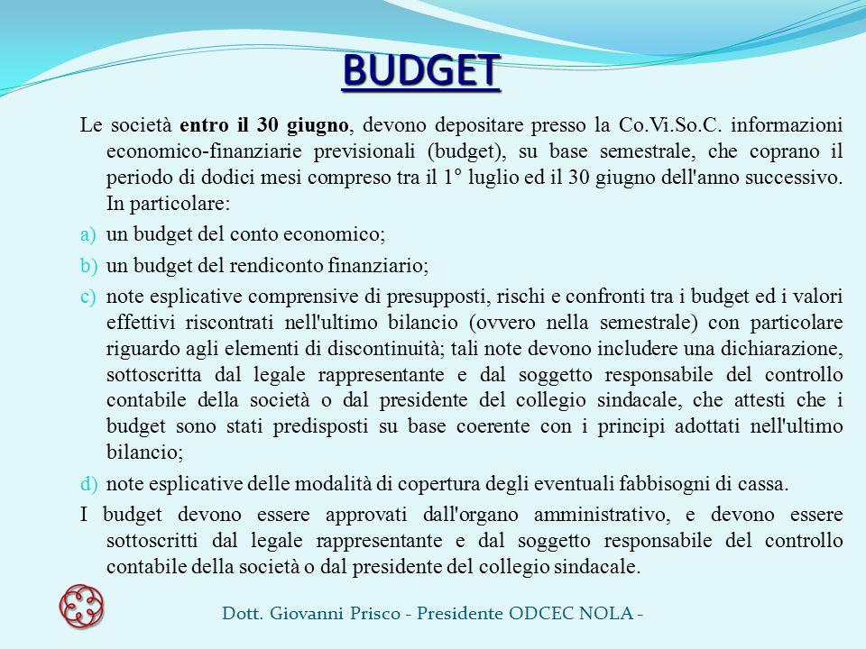 BUDGET Le società entro il 30 giugno, devono depositare presso la Co.Vi.So.C. informazioni economico-finanziarie previsionali (budget), su base semest