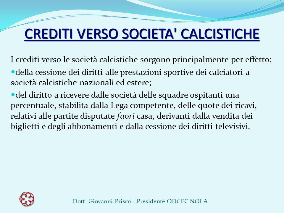 CREDITI VERSO SOCIETA' CALCISTICHE I crediti verso le società calcistiche sorgono principalmente per effetto: della cessione dei diritti alle prestazi