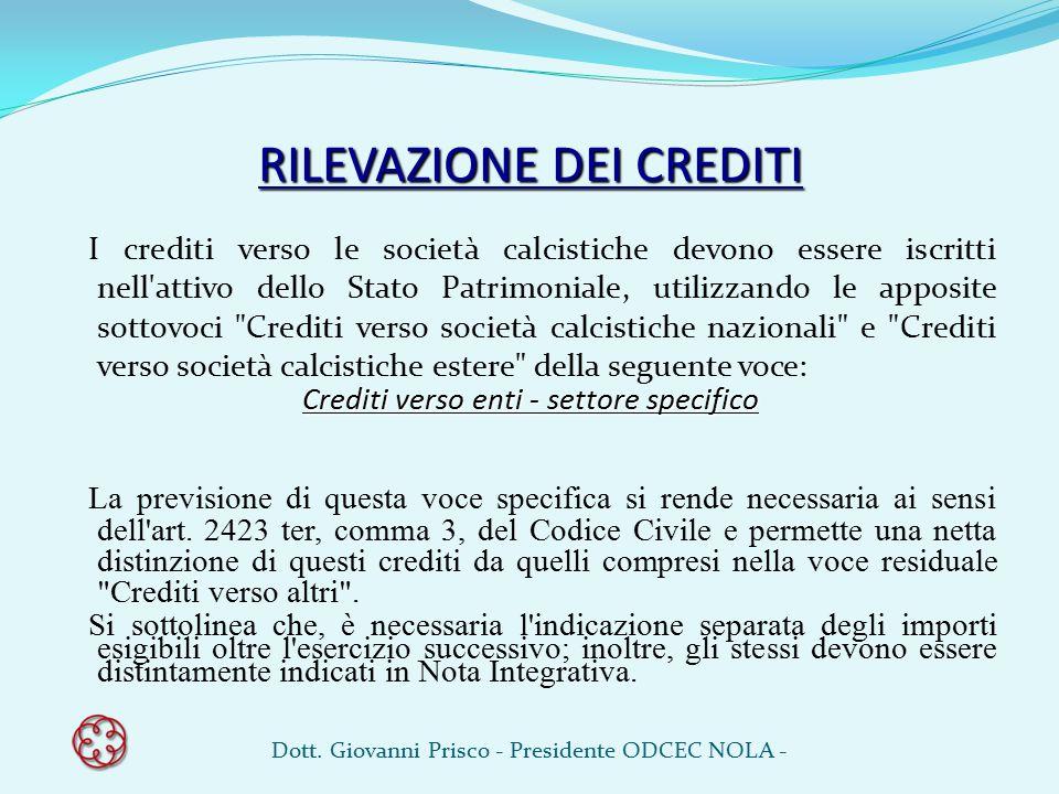 RILEVAZIONE DEI CREDITI I crediti verso le società calcistiche devono essere iscritti nell'attivo dello Stato Patrimoniale, utilizzando le apposite so