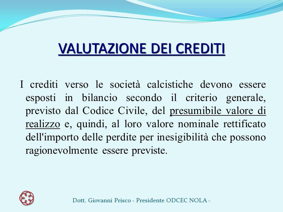VALUTAZIONE DEI CREDITI I crediti verso le società calcistiche devono essere esposti in bilancio secondo il criterio generale, previsto dal Codice Civ