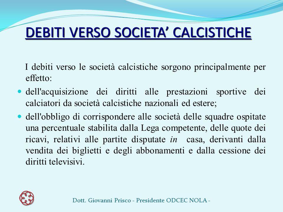 DEBITI VERSO SOCIETA' CALCISTICHE I debiti verso le società calcistiche sorgono principalmente per effetto: dell'acquisizione dei diritti alle prestaz