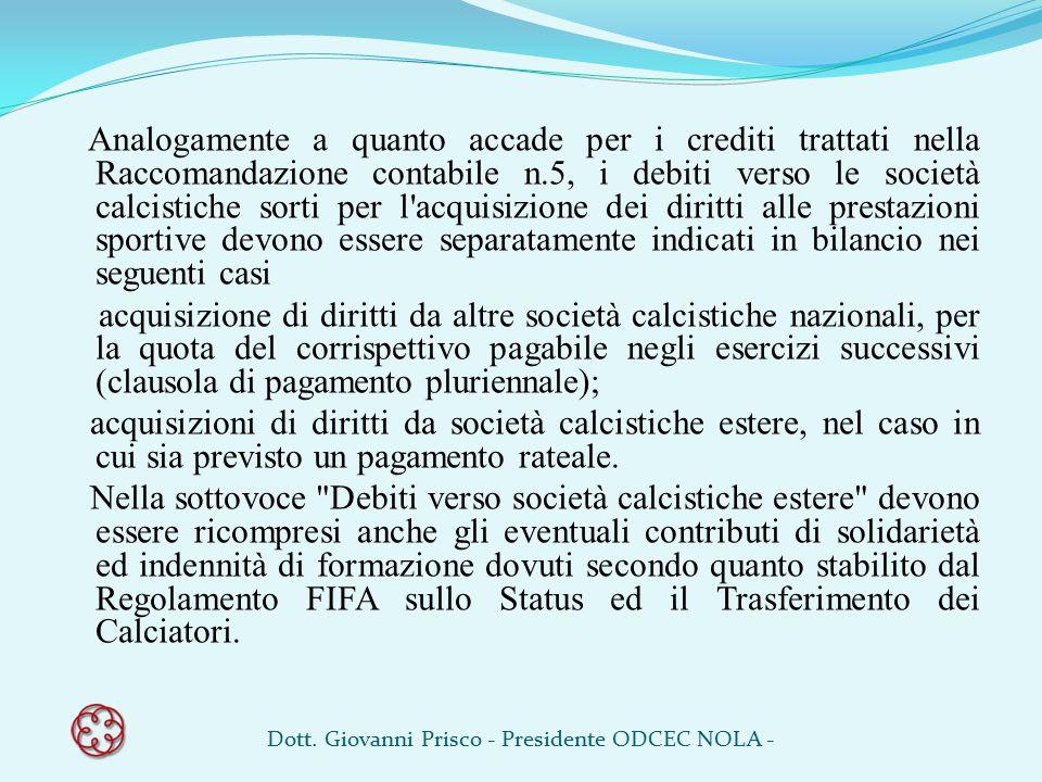 Analogamente a quanto accade per i crediti trattati nella Raccomandazione contabile n.5, i debiti verso le società calcistiche sorti per l'acquisizion