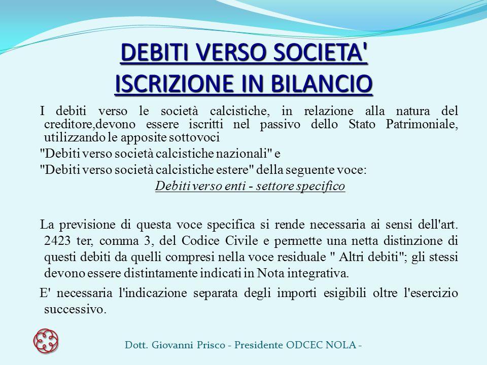 DEBITI VERSO SOCIETA' ISCRIZIONE IN BILANCIO I debiti verso le società calcistiche, in relazione alla natura del creditore,devono essere iscritti nel